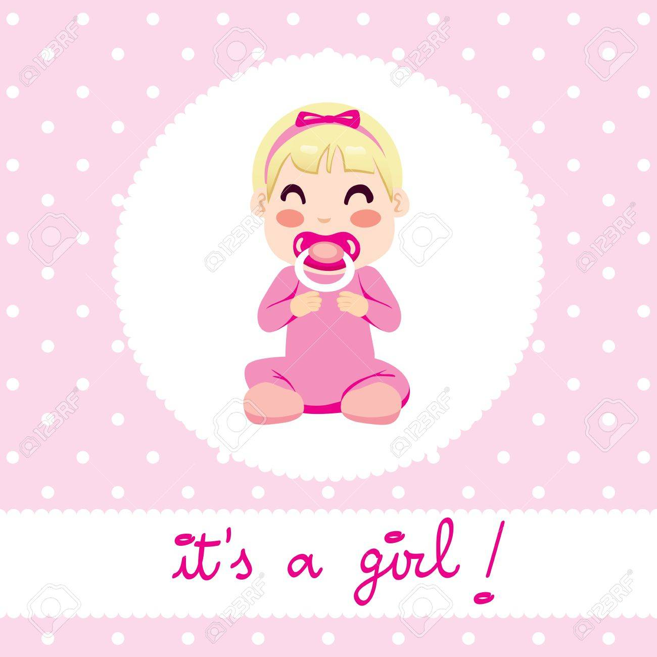 Cute illustration design of newborn baby girl in pink onesie...
