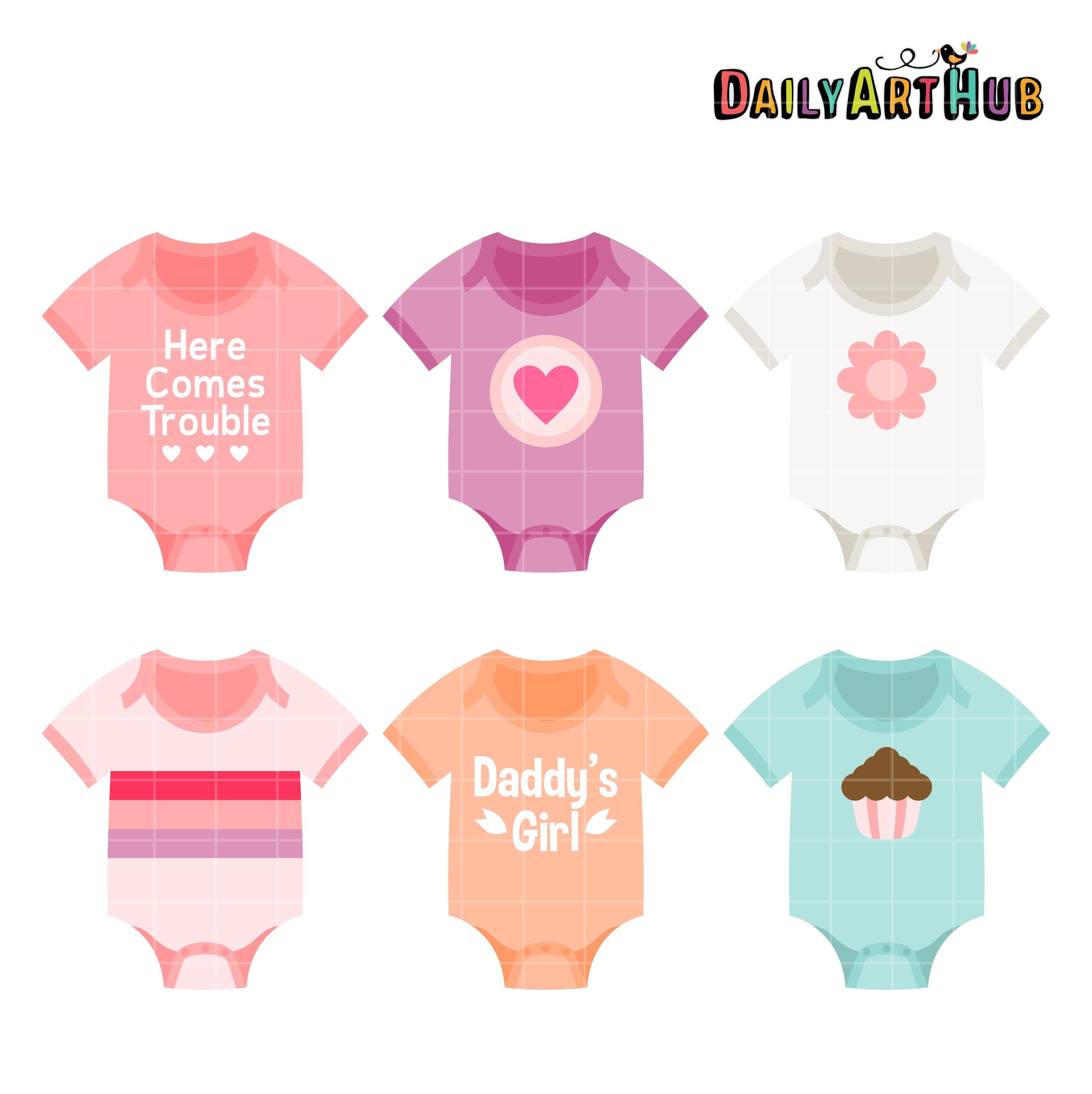 Baby Girl Onesies Clip Art Set.