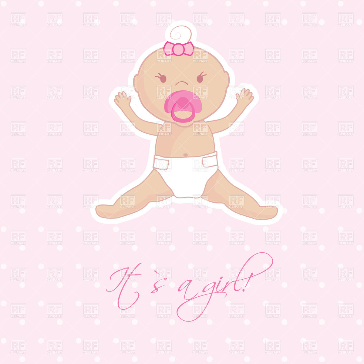 Baby girl with pacifier Stock Vector Image.