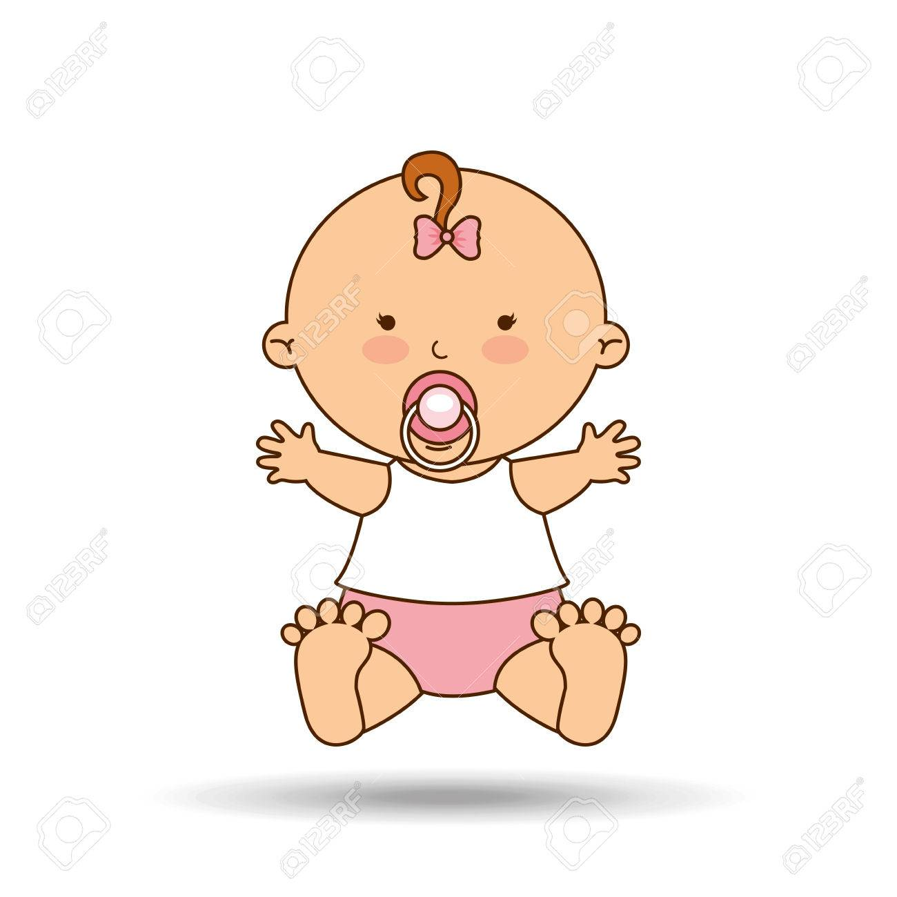 happy baby girl pacifier icon graphic vector illustration eps...