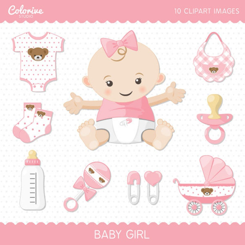 Baby Girl clipart pack, cute baby girl clip art set, png illustration  (Instant Download).