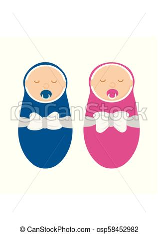 Cute baby boy and baby girl isolated on white background. Newborn in  swaddle with pacifier in flat style. Vector illustration.
