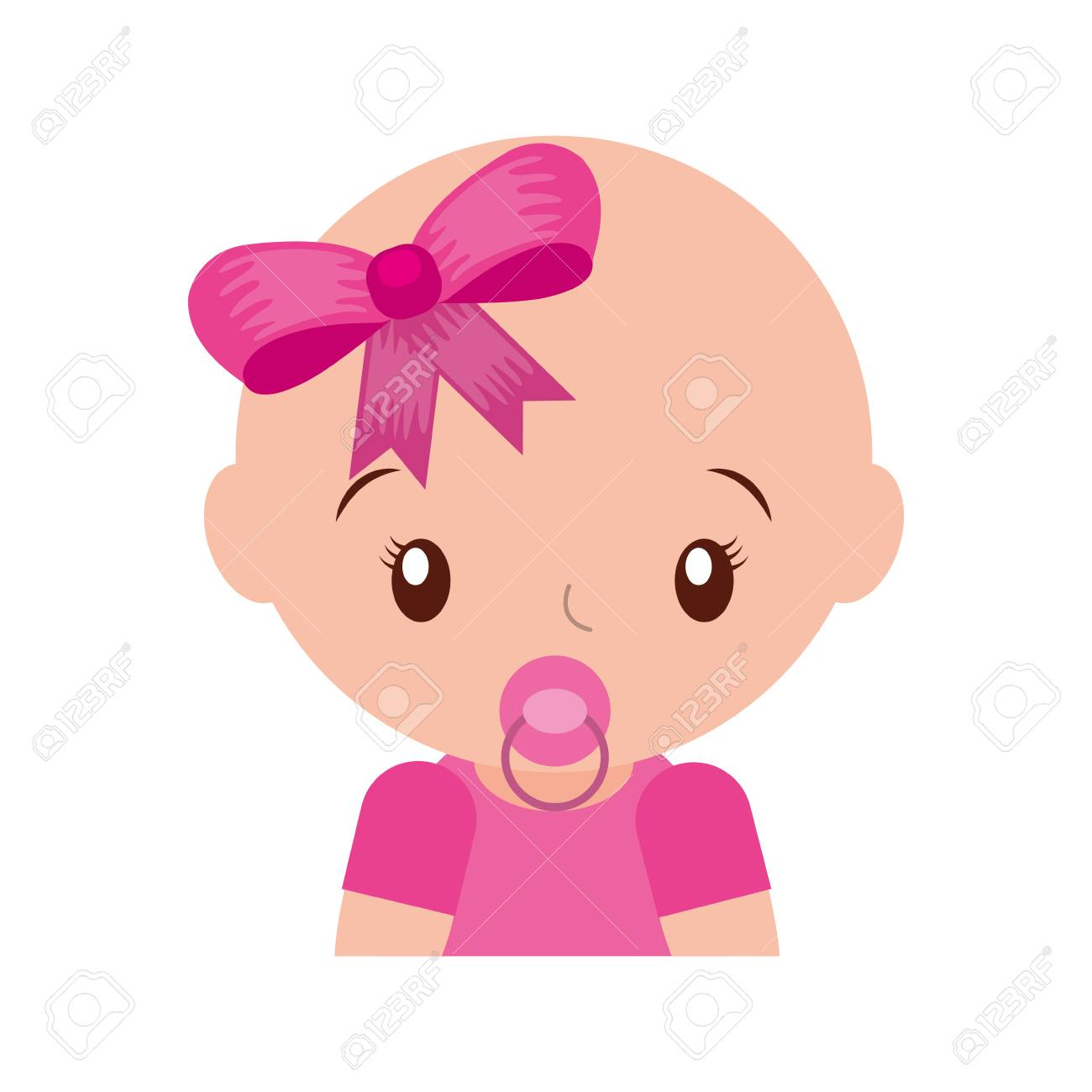 happy baby girl with pacifier adorable vector illustration.