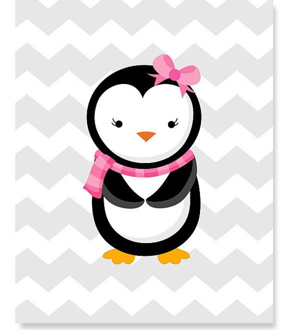 Little Girl Penguin Room Decor Aqua and Pink by.