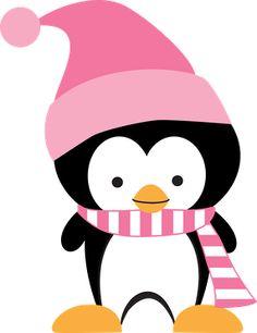 Winter Girl Penguin Clipart.