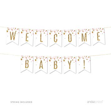Andaz Press Blush Pink Gold Glitter Girl Baby Shower Party Collection,  Hanging Pennant Party Banner with String, Welcome Baby!, 5.