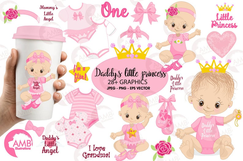 Baby girl clip art, girl onezies, Little princess clipart, create your own  clipart, princess clipart, baby birthday clipart, AMB.