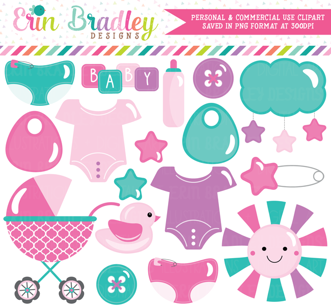 Baby Girl Clipart in Pink Purple and Blue.