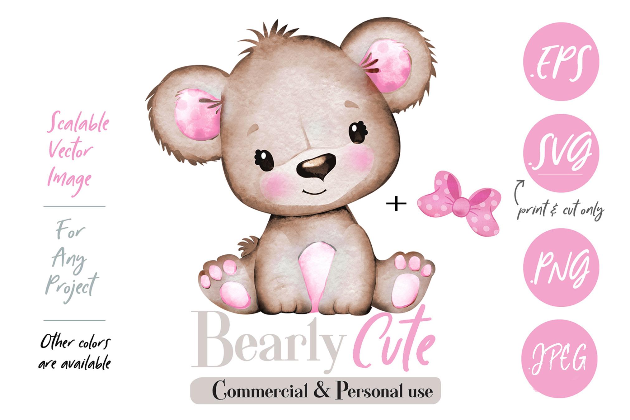 Girl Teddy Bear clip art, brown pink cute baby girl bear.