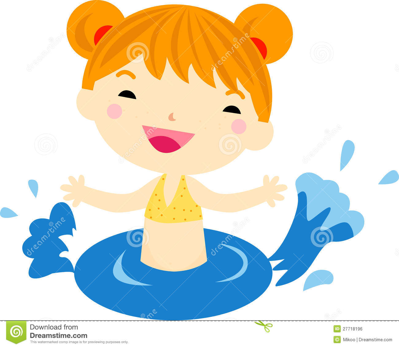 Little Girl Swimming Clipart.