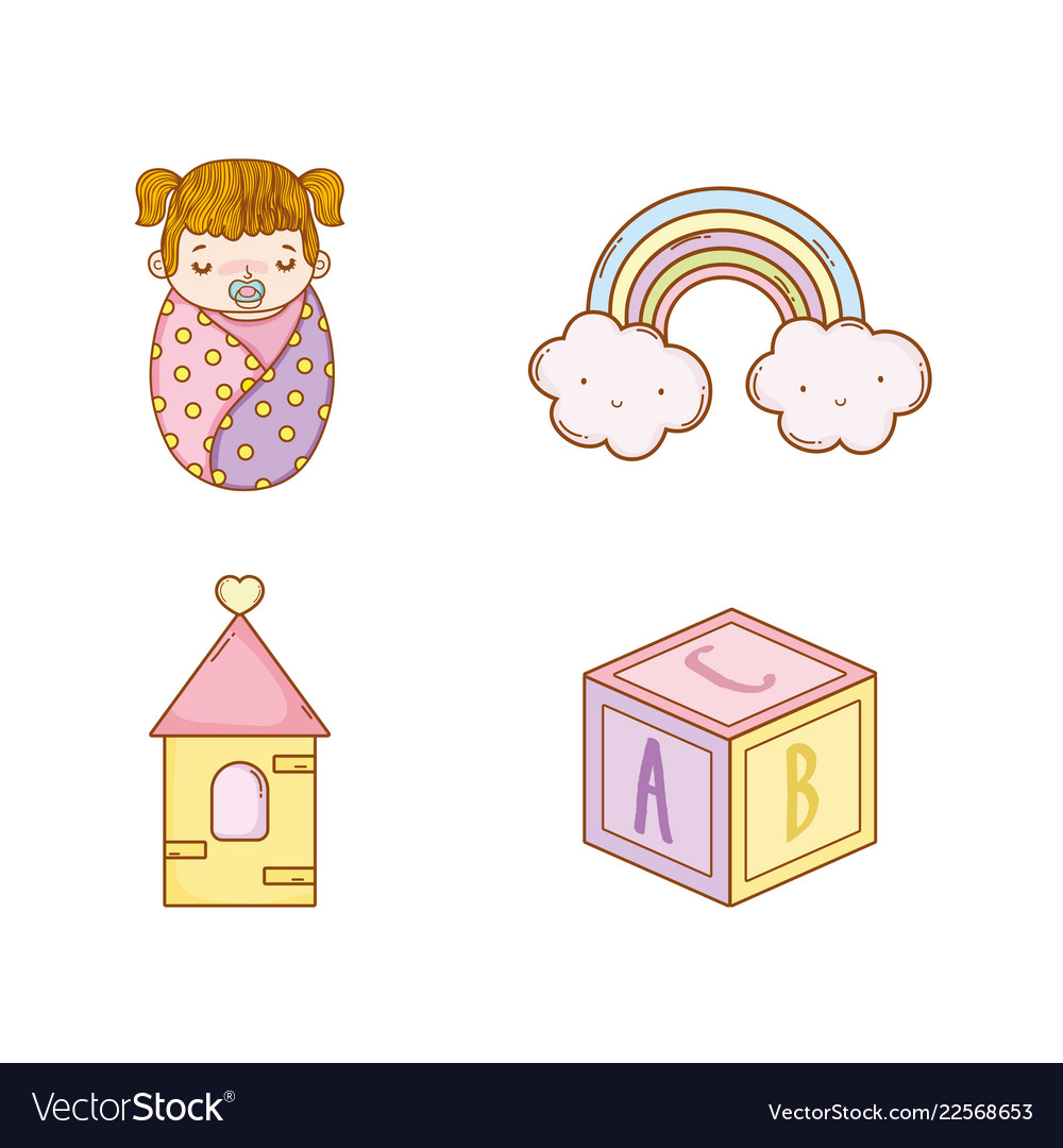 Set baby girl with rainbow and cube toy.