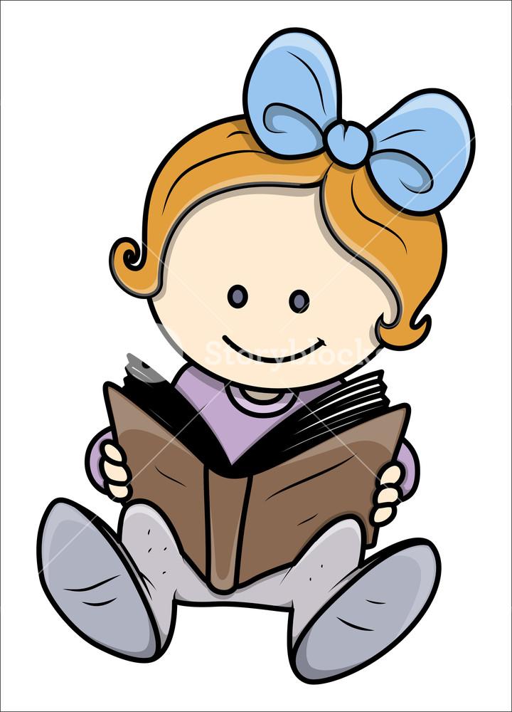 Cute Little Girl Reading A Book.