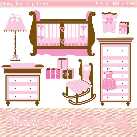 Baby Nursery Decor digital clip art set.