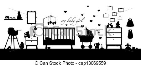 Stock Illustrations of baby girl room interior black silhouette.