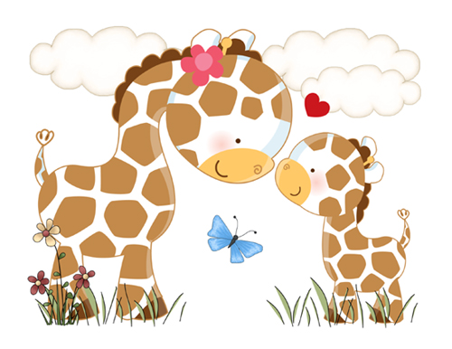 Jungle LOVE Giraffe Wall Art Mural Decal for baby girl boy nursery.