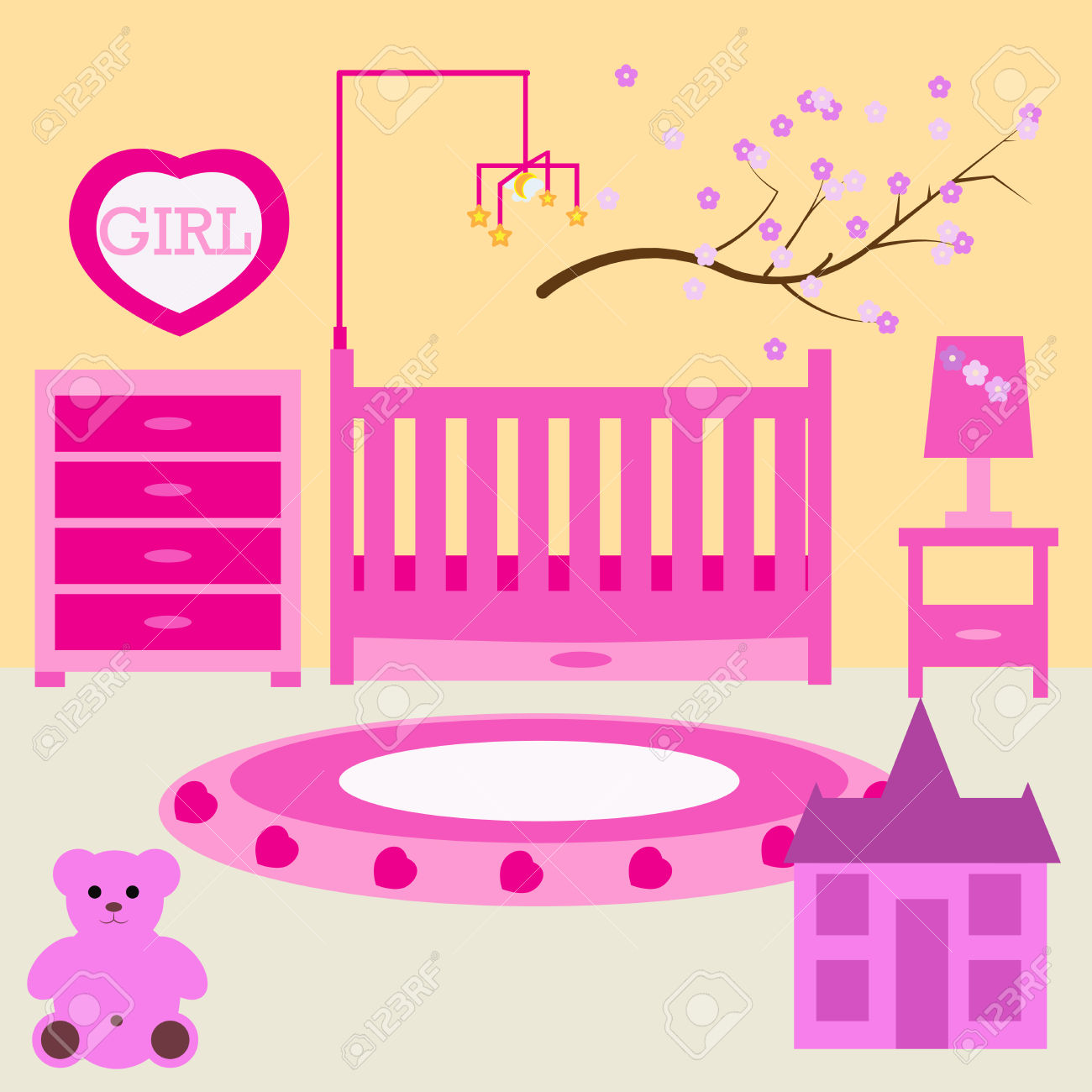 Child Room For The Newborn Girl. Baby Girl Bedroom With Furniture.