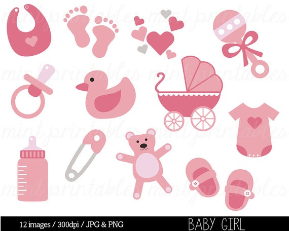 Baby Shower Clipart, Baby Clipart, Baby Girl Clip Art, Pregnant Clipart,  Pink, stroller, onesie.