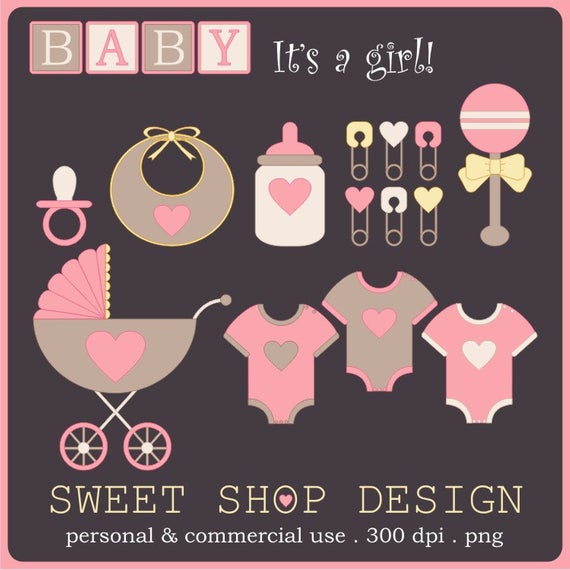 Baby Shower Clip Art, Baby Girl Clip Art, Royalty Free Clip Art.