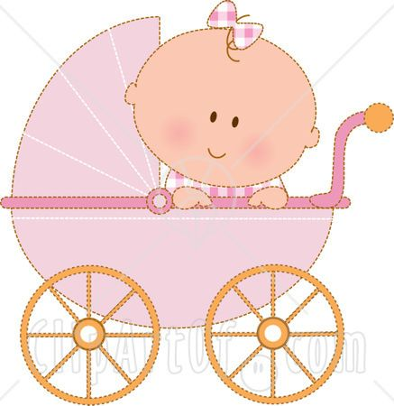 baby girl in a pink stroller clipart/illustration.