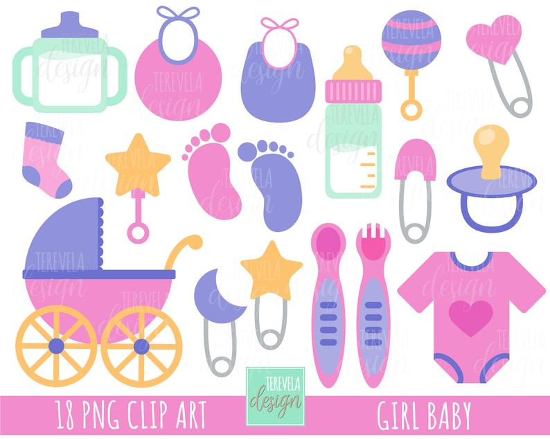 BABY GIRL clipart, baby shower clipart, baby elements, pregnant graphics,  commercial use, cute graphics, baby girl shower, girl.