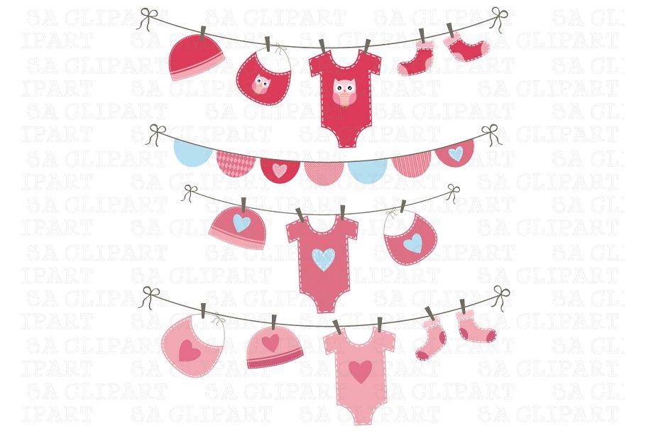 Baby Girl Shower Clipart.
