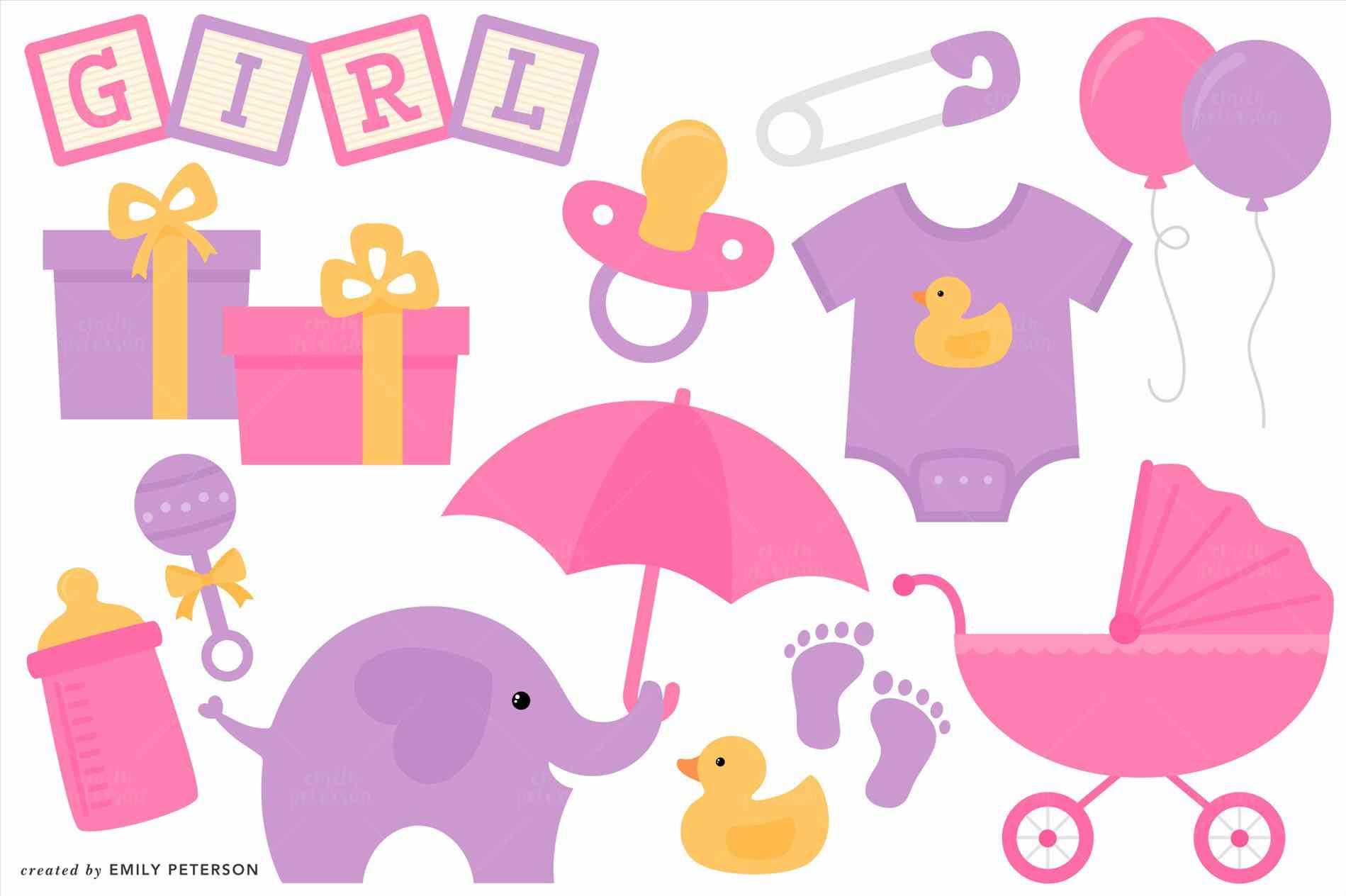 Girl Baby Shower Clipart.
