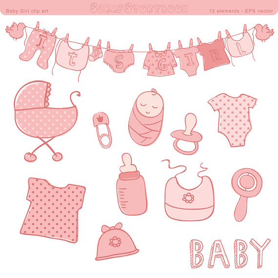 free baby girl shower clipart #4