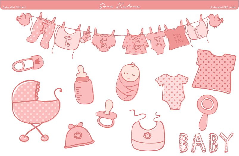 Baby girl shower clipart 3 » Clipart Station.