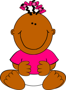 Brown Baby Girl Sitting PNG, SVG Clip art for Web.