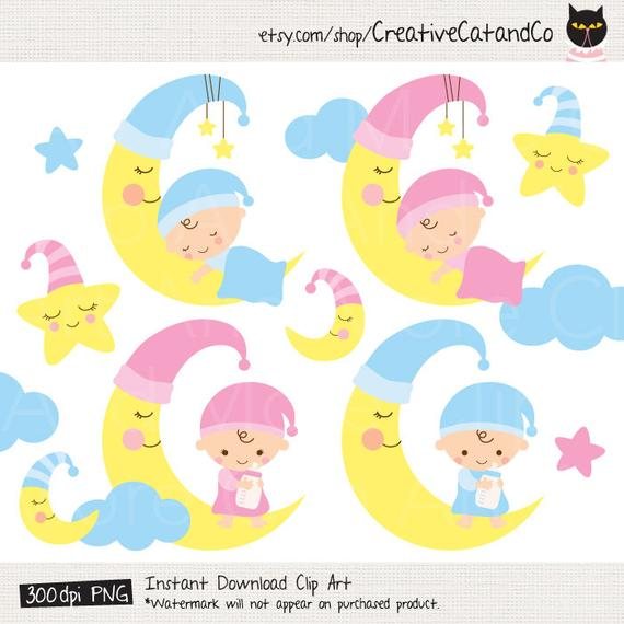 Sleeping Baby Boy and Girl Clipart, Sleeping Baby on Moon and Star, Sweet  Dream Baby, Goodnight Baby, Nighttime Baby Clipart Clip Art.