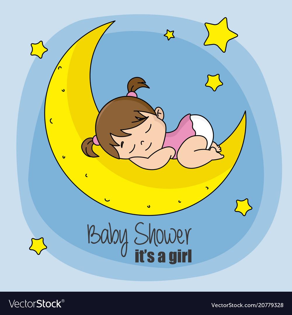 Baby girl sleeping on top of the moon.