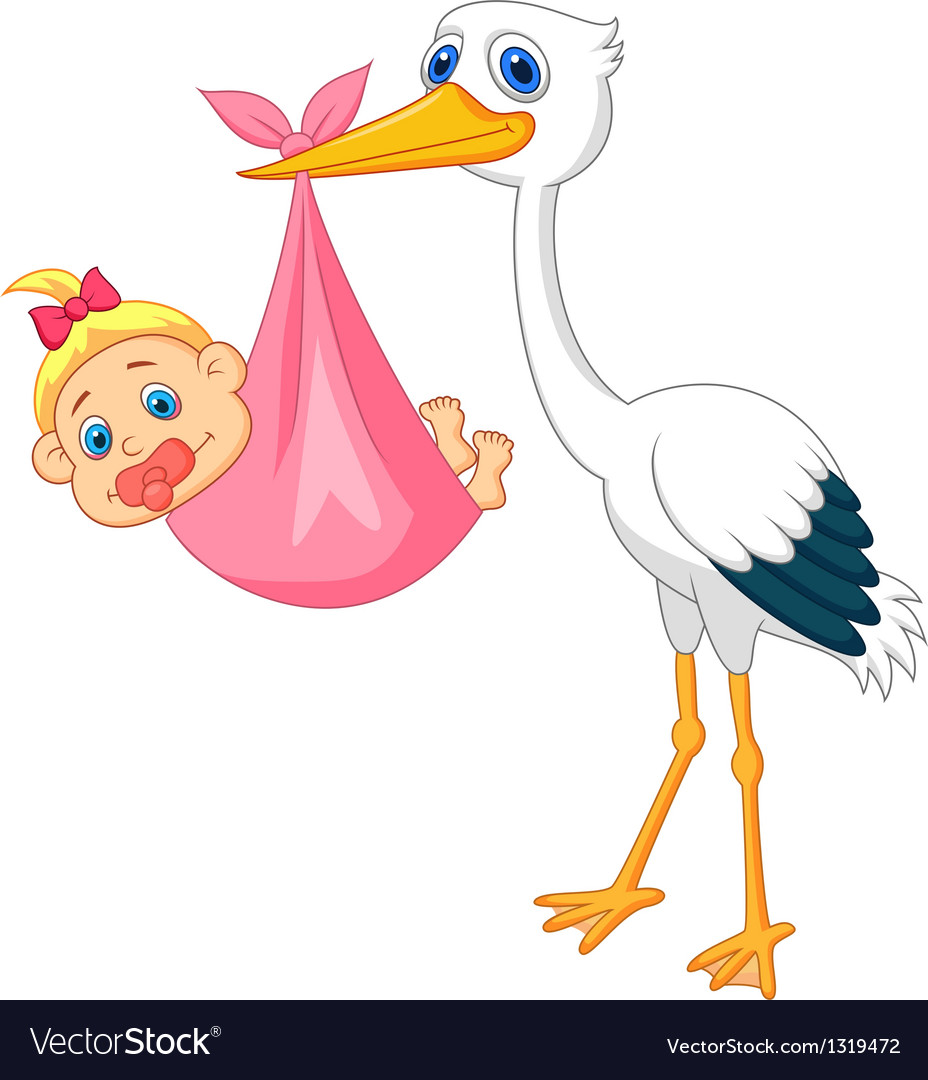 Stork with baby girl.