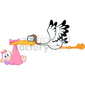 Royalty Free Stork Delivering A Newborn Baby Girl clipart. Royalty.