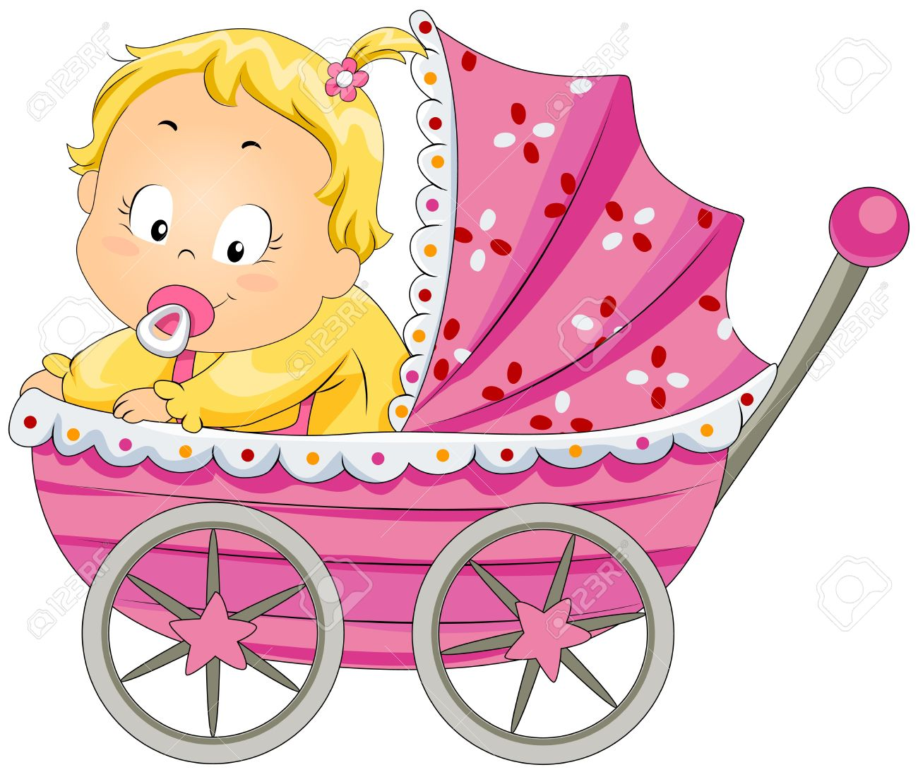Baby Girl In Pram Stock Photo, Picture And Royalty Free Image.
