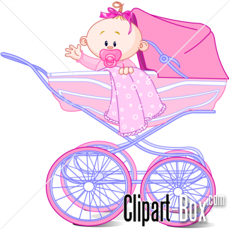 CLIPART BABY GIRL IN PRAM.