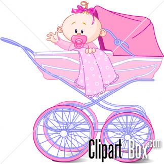 CLIPART BABY GIRL IN PRAM.