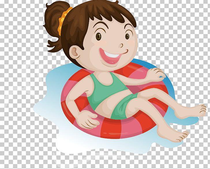 Cartoon Swimming Illustration PNG, Clipart, Art, Baby Girl.