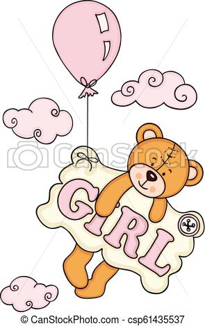 Baby girl teddy bear flying with balloon and a signboard.