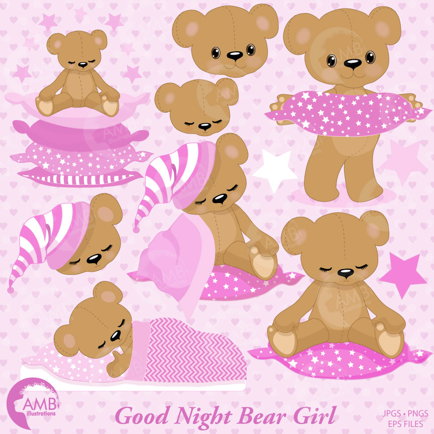Teddy bear, nursery, slumber party, baby girl, bear, Digital Clipart.