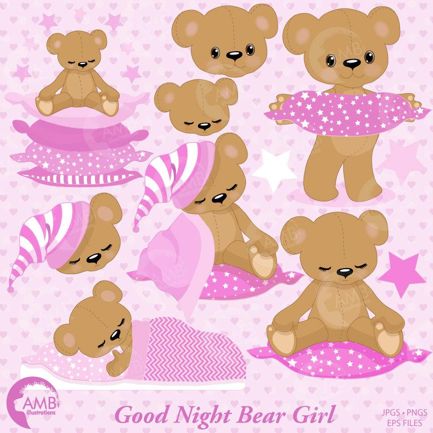 Teddy bear, nursery, slumber party, baby girl, bear, Digital Clipart.
