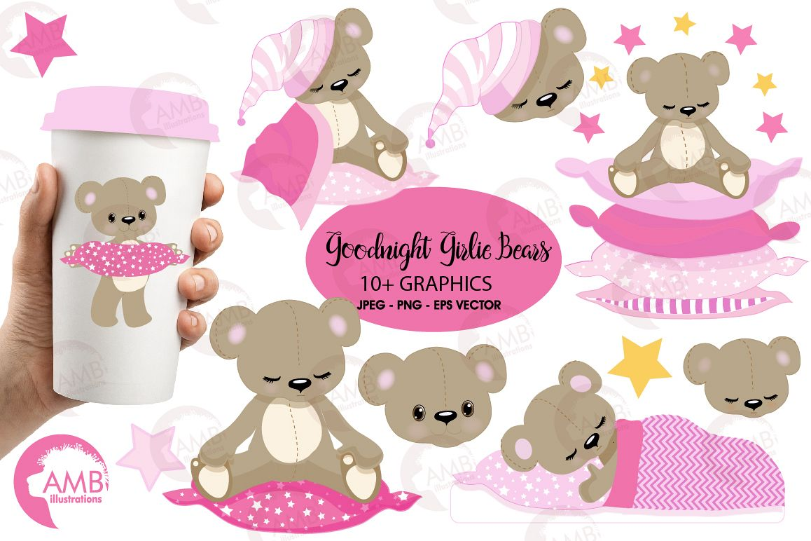 Teddy bear, nursery, baby girl, baby pink bear, clipart, graphics,  llustrations AMB.