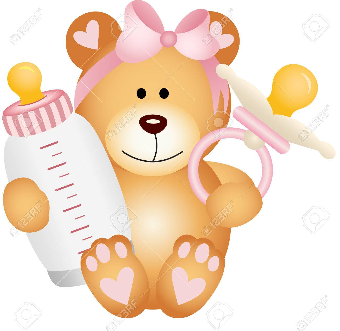 Baby girl teddy bear with baby pacifier and bottle milk.