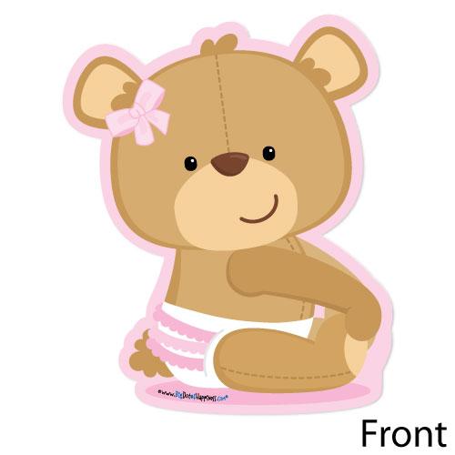 Baby Girl Teddy Bear Shaped Baby Shower Invitations.