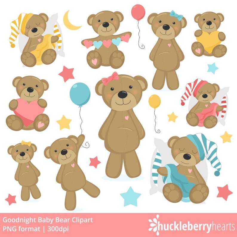Teddy Bear Clipart, Bear Clip Art, Baby, Girl, Pink, Printable, Commercial  Use.