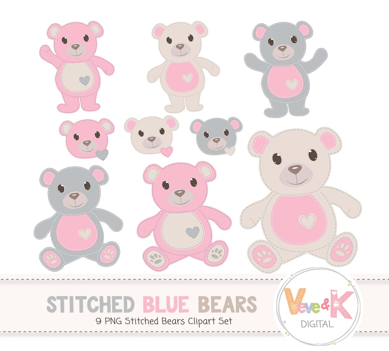 Pink Teddy Bear Clip Art, Stitched Bear Clipart, Digital Clip Art, Pink  Teddy Bears, Baby Girl DIY Shower Baby Pink and Beige.