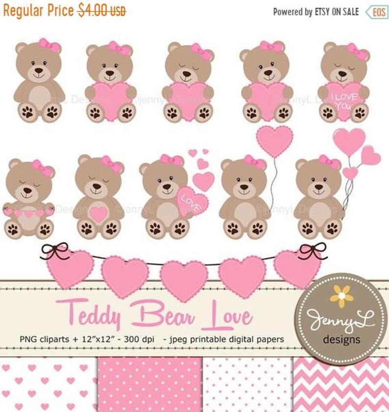 40% OFF Teddy Bear Clipart, Baby Shower Teddy Papers, Baptism bear,  Valentine Teddy Bear, Heart Balloon, Girl Teddy Bear paper, Bunting Hear.