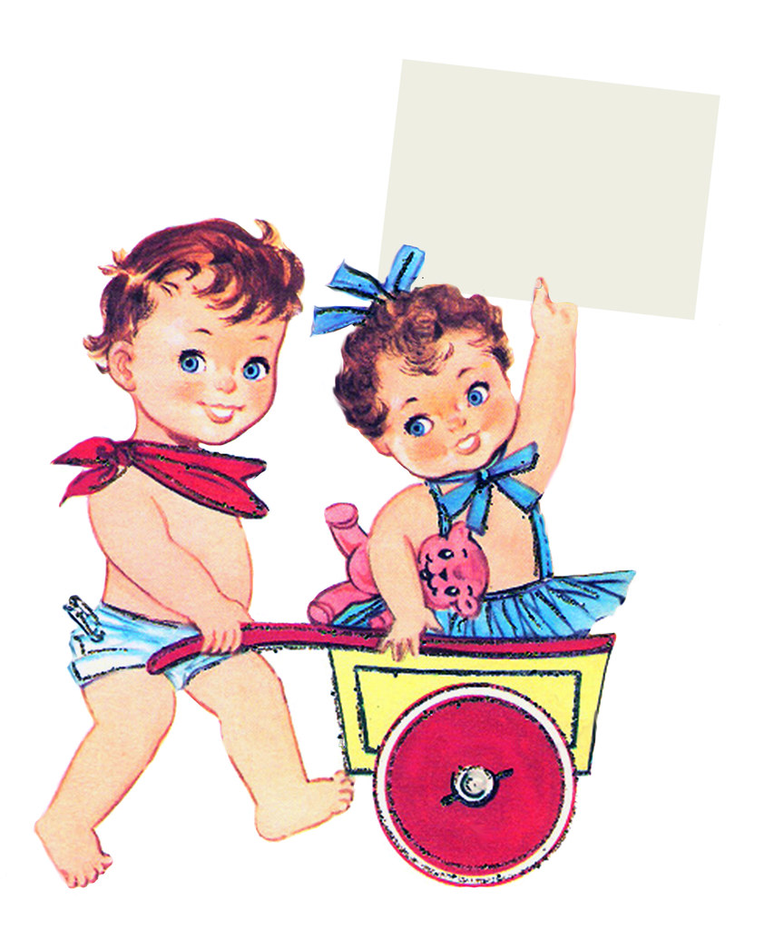 free vintage clip art cute baby boy and girl.