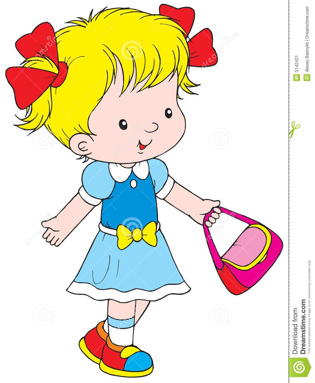 Baby Girl Walking Clipart.