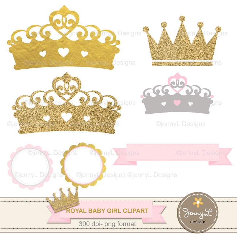 Gold Crown Digital papers and Crown Clipart, Royal Princess Girl Baby  Shower, Birthday Blue Birth Announcement, Scrapbooking Paper Party Theme.