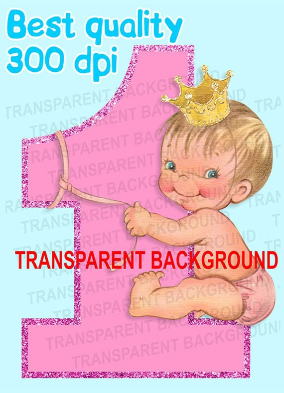 Princess cute baby girl happy birthday gold crown vintage baby scrap  clipart instant download.
